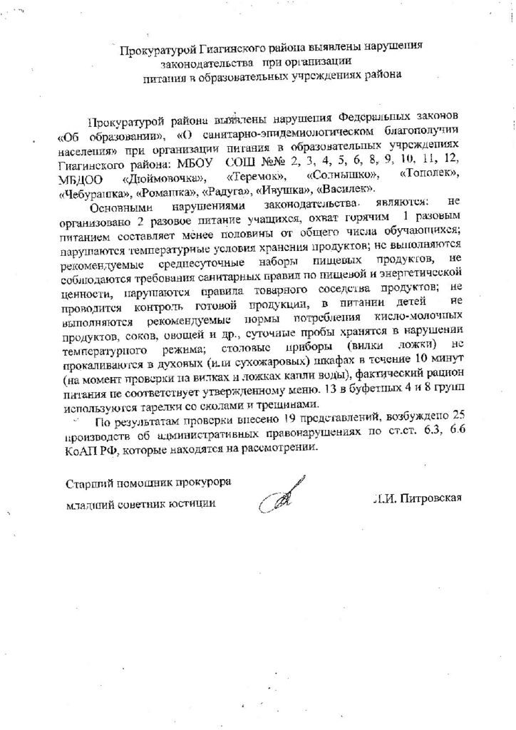 thumbnail of Информация о проверках проведенных прокуратурой в ОО
